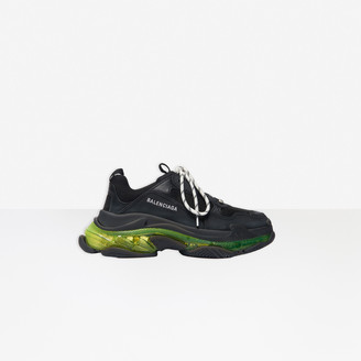 Balenciaga Triple S Clear Sole Sneaker in black and neon yellow polyester and polyurethane