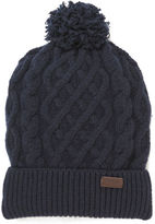 Barbour Cable Knit Beanie Hat Navy
