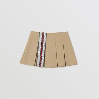 Burberry Childrens Monogram Stripe Print Box-pleated Cotton Skirt