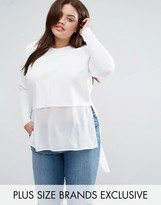 Junarose Long Sleeve 2 In 1 Blouse With Hi Lo Hem