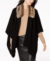 Charter Club Cashmere Faux-Fur-Collar Wrap Sweater, Created for Macy's