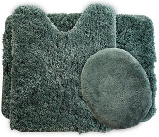 Lavish Home 3 Piece Super Plush Non-Slip Bath Mat Rug Set, Green