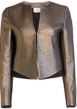 Akris Punto Women's Gold Lamé Roundneck Jacket