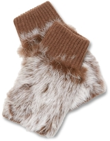 Adrienne Landau Knit Fingerless Rabbit Fur Glove