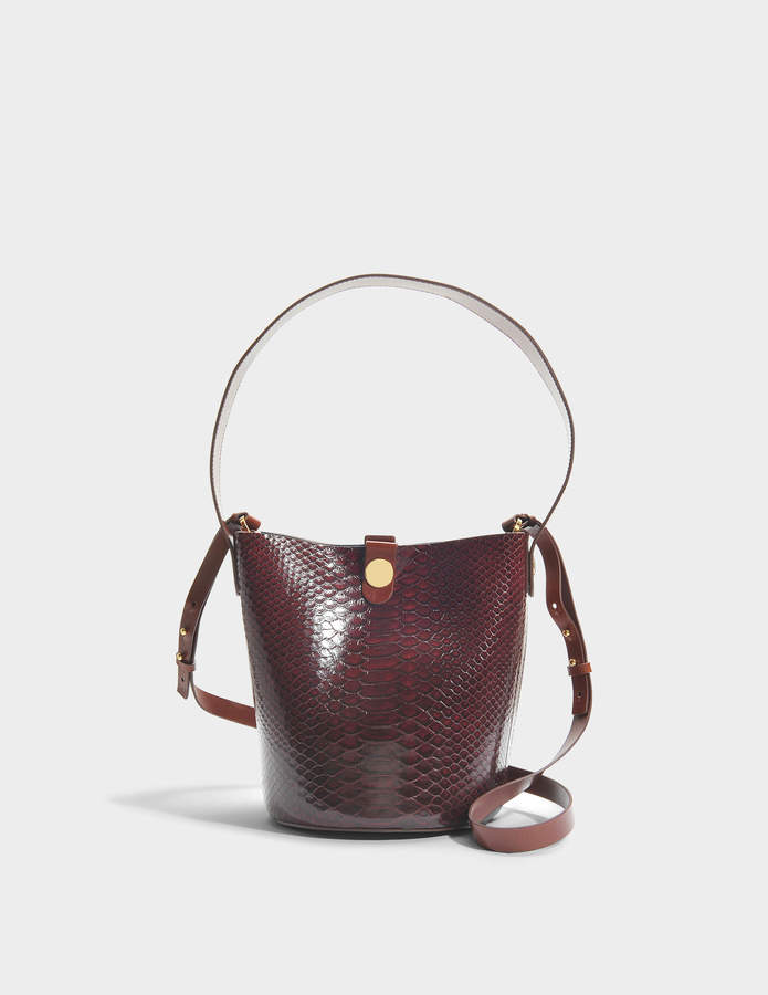 Sophie Hulme The Swing Bag in Burgundy and Brown Cow Leather and Python
