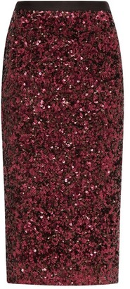Rebecca Taylor High-rise Sequinned Pencil Skirt - Womens - Burgundy