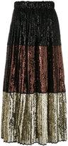 No.21 stripe panel sequin skirt - women - Polyester/Cupro - 42