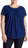 Bobeau Short Sleeve Pleated Blouse (Plus Size)