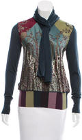 Hermes Tie-Accented Silk-Paneled Top