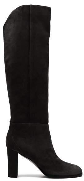 Jimmy Choo Madalie 80 Knee High Suede Boots - Womens - Navy