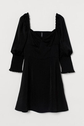 H&M Smock-detail Satin Dress - Black