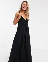 Asos Design DESIGN cami bow front maxi sundress in black