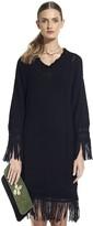 Vix Paula Hermanny Solid Black Fringe Sweater Dress