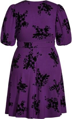 City Chic Belted Velvet Floral A-Line Dress
