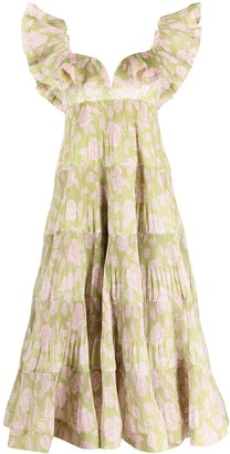 Zimmermann Lovestruck Pleated floral-print gown