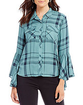 Takara Bell-Sleeve Plaid Shirt