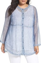 Eileen Fisher Plus Size Women's Organic Linen Blend Mesh Top