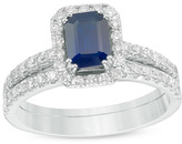 Zales Emerald-Cut Blue Sapphire and 1 CT. T.W. Diamond Frame Bridal Set in 14K White Gold