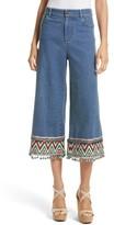 Alice + Olivia Women's Beta Embellished Wide Leg Crop Jeans