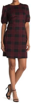London Times Check Print Novelty Sweater Dress