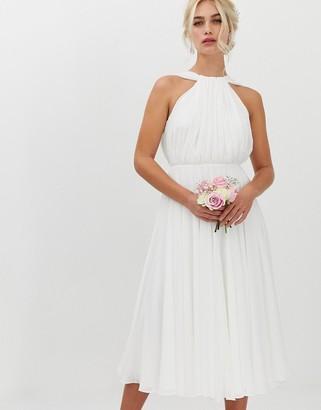 Asos EDITION halter midi wedding dress with v back