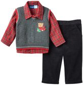 Baby Boy Great Guy Applique Sweater Vest, Plaid Shirt & Corduroy Pants Set
