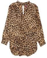 Vince Camuto Mock Choker Neck Leopard Print Top