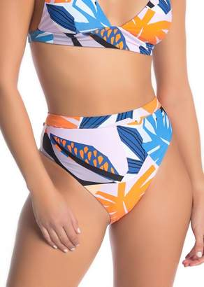 Red Carter High Waist Geometric Print Bikini Bottoms