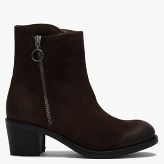 Fly London Zent Ground Suede Block Heel Ankle Boots