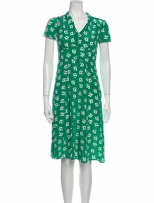 HVN Silk Knee-Length Dress Green