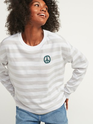 Old Navy Loose Heavy-Knit Striped Embroidered Graphic Plus-Size Easy Long-Sleeve Tee