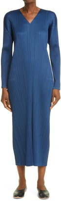 Pleats Please Issey Miyake Pleated Long Sleeve Midi Dress