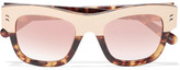 Stella McCartney Cat-eye Acetate And Gold-tone Mirrored Sunglasses - Tortoiseshell