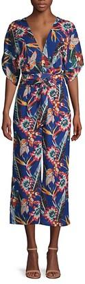 Red Carter Botanical-Print Kimono-Sleeve Jumpsuit