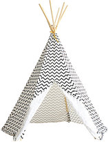 Nobodinoz Arizona Zigzag-Pattern Cotton Play Tent-BLACK
