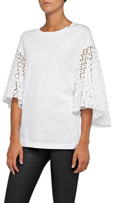 Replay T-Shirt With Broderie Anglaise Sleeves