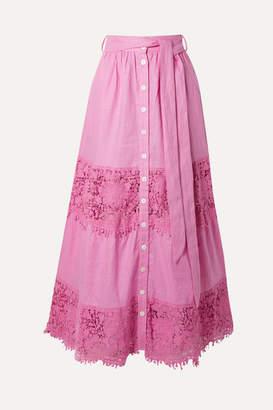 Miguelina Almira Crochet-trimmed Linen Maxi Skirt - Pink