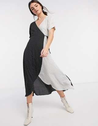 Traffic People monochrome wrap dress in black and white