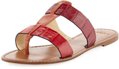 Alexandre Birman Carmina Crocodile Slide Sandal, Red