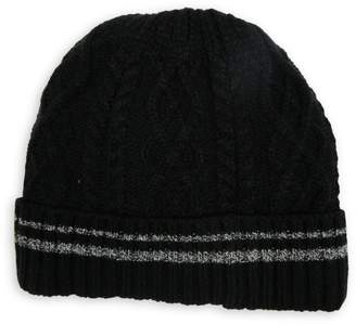 London Fog Cable-Knit Faux Shearling-Lined Tuque