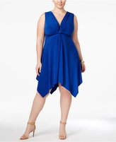 Love Squared Trendy Plus Size Knotted Handkerchief-Hem Dress