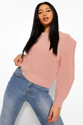 boohoo Petite Shoulder Pad Detail Knitted Jumper