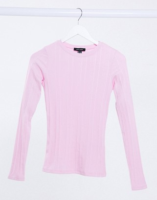 New Look ribbed crew neck in pale pink-Tan