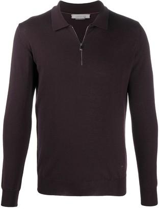 Corneliani Fine Knit Sweater With Shirt Zip Fastening