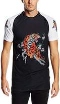 Jaded London Men's Tiger Longline Round Collar Short Sleeve T-Shirt