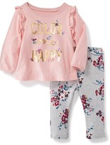 Old Navy 2-Piece Ruffle-Trim Tee and Pull-On Jeggings Set for Baby