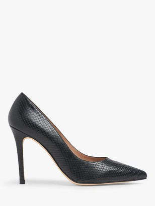 LK Bennett Fern Pointed Toe Snake Print Leather Court Shoes, Black