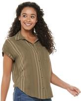 So Juniors' SO Short Sleeve Button Down Shirt