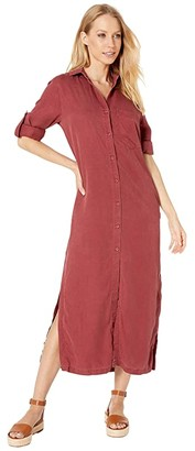Bella Dahl Pocket Duster Dress in Crosshatch Tencera (Crushed Berry) Women's Clothing
