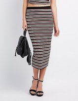 Charlotte Russe Striped & Ribbed Midi Skirt